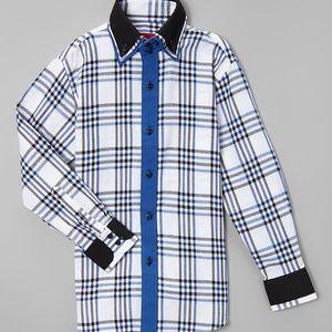 Elie Balleh  Navy Plaid Boys Button-Up size 12